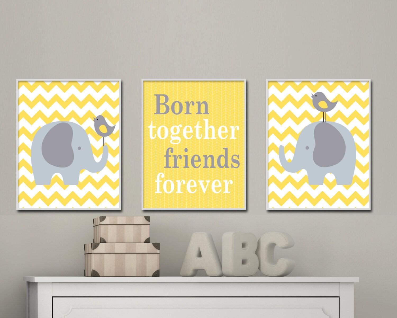 Nursery Yellow and Grey Elephant and Bird Art Print Baby Boy