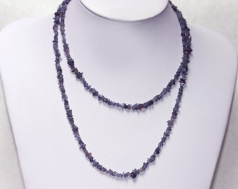 Very Long Natural TANZANITE Small Nuggets Chip Beads Necklace Vintage