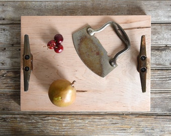 Cutting and Serving Tray, Cheese Board, Cutting Board, Personalized, Reclaimed Wood, Bread, Wood Serving Board, Kitchen Gift, Peg and Awl