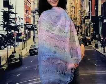 Beautiful long shawl, winter scarf, colorful shawl, knit scarf, knitted shawl, winter women's scarf, handknit shawl, blanket scarf, shawl