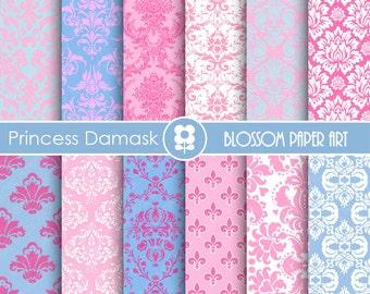 Princess Paper, Pink Light Blue Digital Damask Paper Pack, Scrapbooking, Digital Paper Pack  - INSTANT DOWNLOAD  - 1763