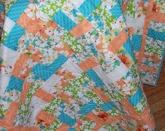 Aqua, Orange, Green and White Floral Lap Quilt