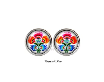 Stud Earrings * embroidery folk * cabochon patterns Russian stainless steel slave