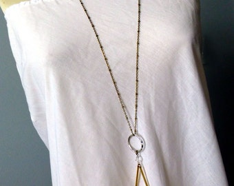 Boho Purity Quartz Long Necklace - Crystal Icicles Minimalist Layered Necklace - Clear Crystal Pendant -Simple Boho Bridal Necklace