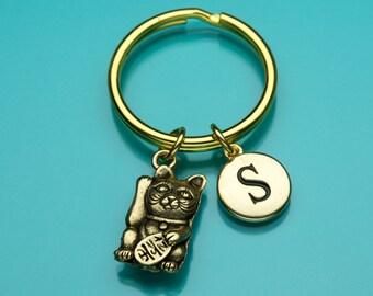 Maneki Neko Cat Keychain, Gold Maneki Neko Key Ring, Japanese Cat, Good Luck, Initial Keychain, Personalized Keychain, Charm Keychain, 450