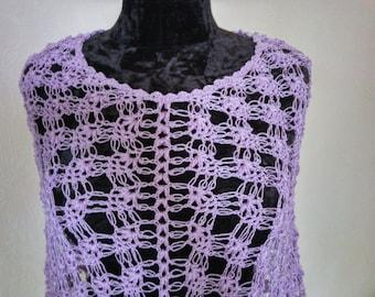 Lilac lace summer knit wrap cotton poncho women ponchos cotton top for summer crochet poncho Chunky knit poncho