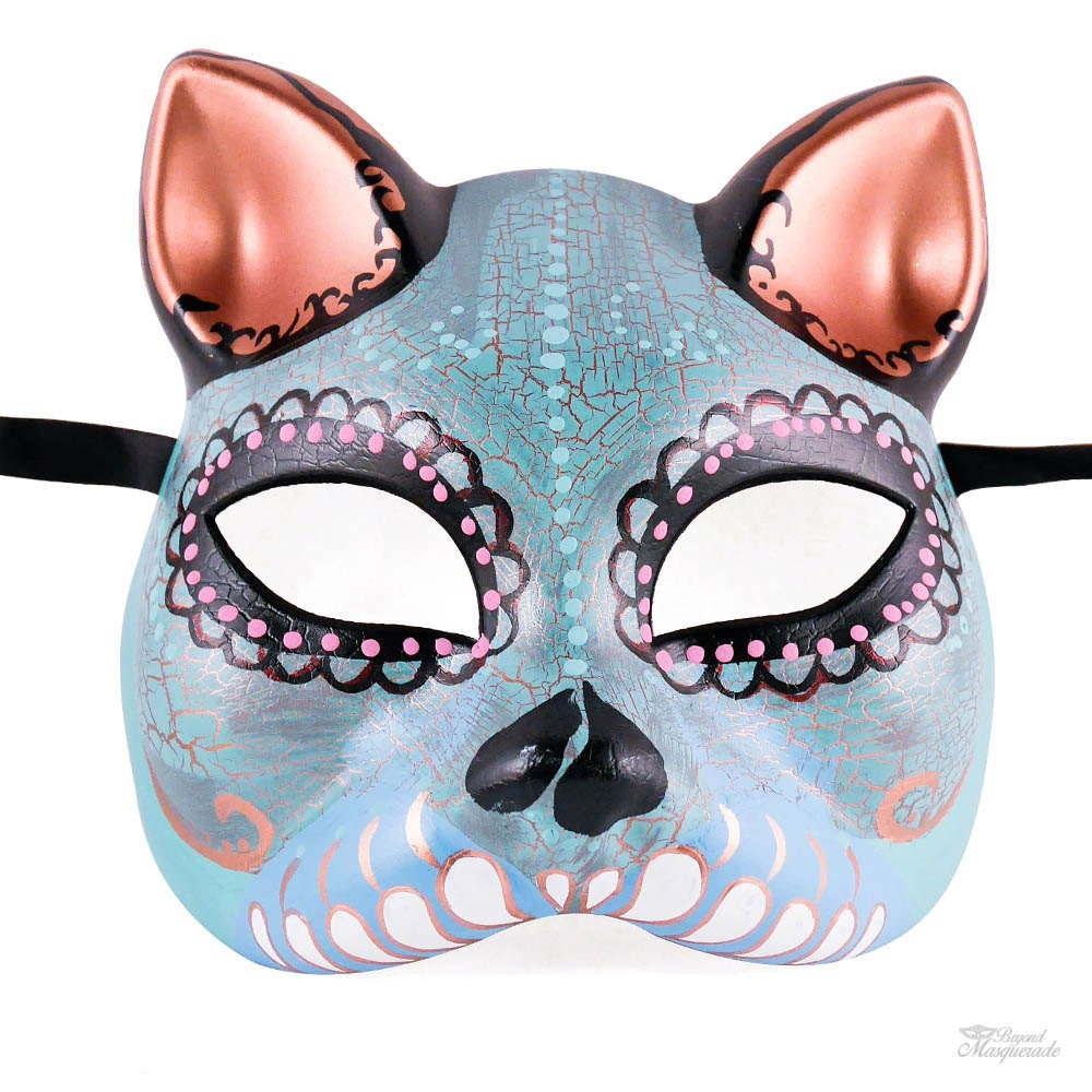 Day of the Dead Cat Mask Gato Muerto Cat Masquerade Mask
