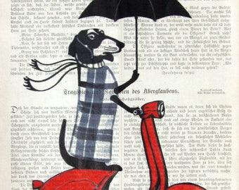 DRIVING in the RAIN art dachshund moped vespa scooter umbrella doxi dackel doxie