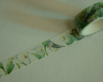 1 Roll of Japanese Washi Masking Tape- Birds with Flowers and Leaves