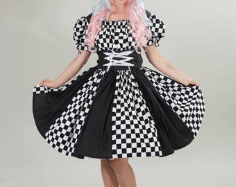 Harlequin Dress Halloween Costume Circus Clown Mardi Gras Dress Black and White Check Checkered Checked Womens S M L Handmade High Quality