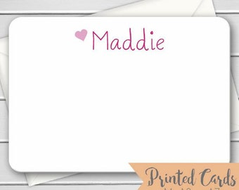 Name Note Cards with Envelopes - 12pk, Personalized Flat Note Cards with Envelopes (NC-009)