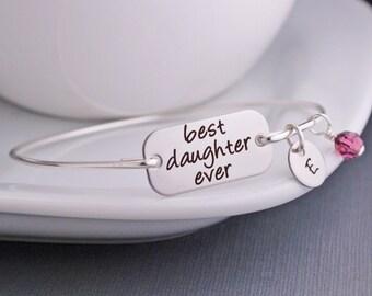 Best Daughter Ever Bracelet, Gift for Daughter, Custom Daughter Jewelry, Birthday Gift for Daughter, Wedding Day Gift for Daughter