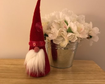 Nordic gnome upcycled from felted wool sweaters - meet Valentino the gnome /valentines day gift