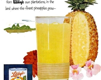 1953 Libby's Pineapple Pineapple Juice Advertisement Print Ad Poster Restaurant Diner Bar Pub Drink Tropical Fruit Wall Art Home Decor