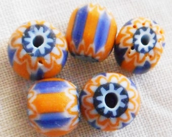 Six large blue and orange striped chevron glass Beads 10 x 11mm C0501