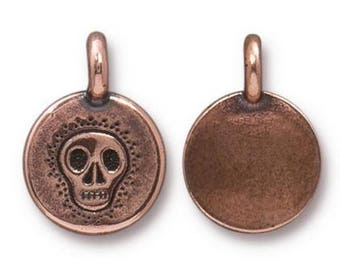 4 TierraCast Skull 5/8 inch ( 17 mm ) Copper Plated Pewter Charms Pendants
