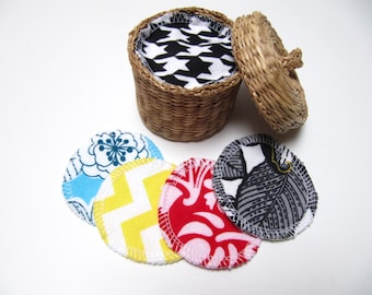Reusable Facial Rounds, 40 Cosmetic Rounds, Makeup Remover Pads, Eco-Friendly Face Scrubbies, ADULT Friendly Prints, Add on WASH BAG