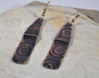unusual Earrings, Black Copper Earrings, Antiqued Hammered Copper Earrings, Copper Bohemian Earrings, Copper Anniversary Gift for Wife