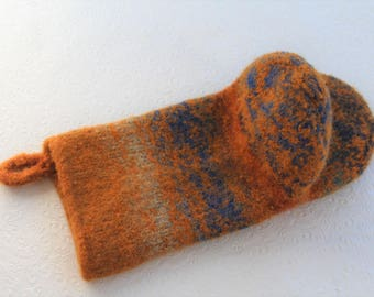 Pumpkin Spice Wool Oven Mitt, Universal Fit Oven Mitt, Wool Oven Glove, Eco Friendly Wool, Orange, Blue, Rust Oven Mitt, Bridal Shower Gift