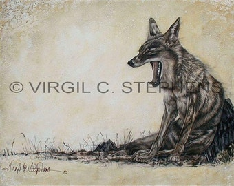 Coyote art, Bonking, print from my original oil painting of a coyote out in the desert, wildlife artwork, coyote painting print
