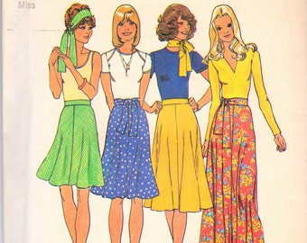 Vintage '70s sewing pattern, Simplicity 6746, bias gored skirt, flared skirt, size 18, plus size, uncut