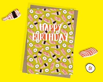 Sushi Birthday Card - A6 - Happy Birthday - Foodie - Lino print - Sushi lover - Japan - Sashimi - Maki - Nigiri - For him - For her - Sushi