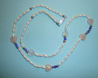 "Hand Crafted Beaded Necklace Measures 24"" In Length-Contains Rose Quartz Amethyst & Freshwater Pearls-Beautifully Crafted Great Gift Idea"