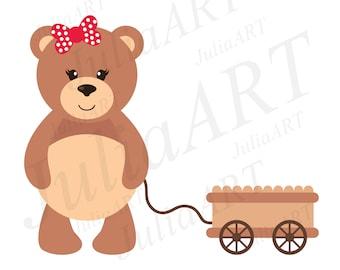 cartoon teddy with a wheelbarrow