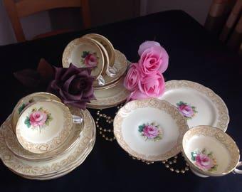 Stunning bone china 18 piece tea set. Hammersley . Pink cabbage rose.