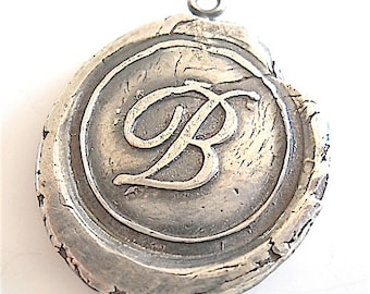 Handmade Silver Wax Seal Classic Cursive Initial Necklace, Hand Stamped Initial Charm, Initial Pendant