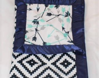 Tribal Navy mint gray arrows geometric Southwest baby blanket with satin around all of the edges.