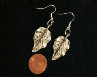 Leaf Earrings, Ready to Ship, Earrings with Leaves, Nickle Free Silver Plated Leaf Earrings, Fall Leaf Earrings, Fall Jewelry