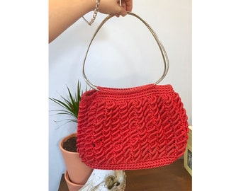 Red Woven Hand Bag with Silver Top Handle