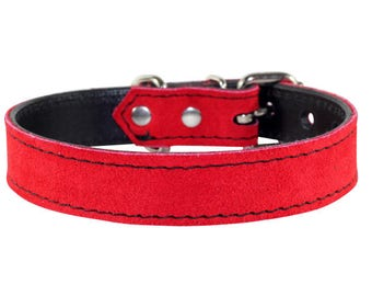 Red Suede Dog Collar - Leather Dog Collar - Suede Red Leather Dog Collar - Red Leather Dog Collar With Nickle Hardware