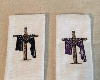 Embroidered Easter Cross Fringed Fingertip Towel