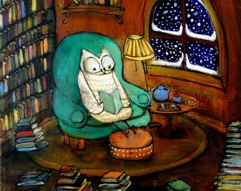 Snowy Owl Would Rather Be Reading - Archival Print