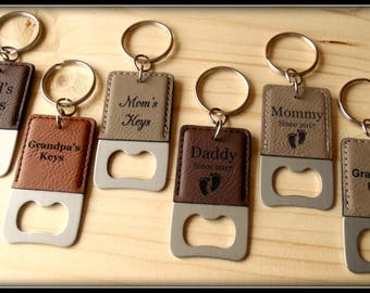 Key Chain Bottle Opener, Leather, Mom, Dad, Grandma, Grandpa, Personalized Custom Gift Engraved, Church Key Christmas Gift, Birthday For Him