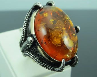 925 Sterling Silver Amber Stone Claw Men Ring