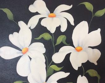 ORIGINAL white camelia flower painting