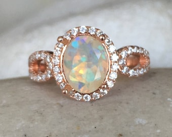 Natural Opal Engagement Ring, Rose Gold Opal Ring, Promise Ring for her, Art Deco Engagement Ring, October Birthstone Ring- Oval Opal Ring