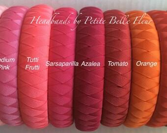 "Padded Ribbon Headband | Grosgrain Ribbon Headbands Solid Colors | 1"" Width | 30+ Colors"