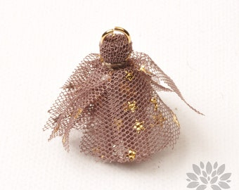 T024-BR// Gold Jumpring Star Pointed Brown Mesh Fabric Tassel Pendant, 4pcs