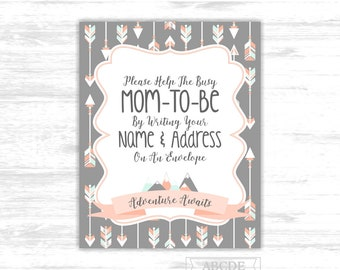 Make yourself the addressee sign Adventure awaits baby shower sign write your name and address on an envelope arrows mountains sign ADV015