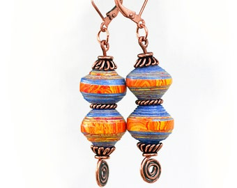 Colorful gypsy earrings, Lightweight earrings Hippie, Tribal earrings, Handmade OOAK, Boho jewelry, Orange blue rolled paper earrings,
