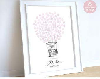 Hot air balloon wedding guest book, wedding guestbook hot air balloon, hot air balloons thumbprint thumb print guestbook, wedding book idea