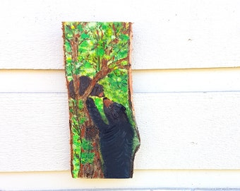 Bear and cub pyrography hanging (Art only) Woodburned on live edge Birch, Baby black bear climbing a tree with Mom coming to the rescue!