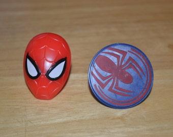 12 Spiderman Cupcake Pick Set/Spiderman Cupcake Picks/Spiderman/Spiderman Rings/Rings/Children's Rings