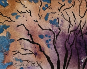 Autumn Tree Original Watercolor 8 x 10 matted