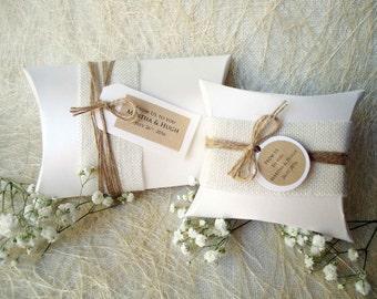 Wedding Favor Boxes Party Favor Boxes Pillow Boxes Burlap Box White Pillow Boxes Gift Boxes - PACK of 5 BOXES