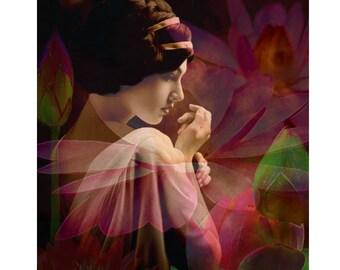 Waterlily goddess, digital print, photomontage, digital art, modern art, 1920s print, fine art, wall art, art Deco, wall art, boudoir art